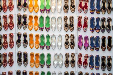 Fancy shoes on sale at a shop.