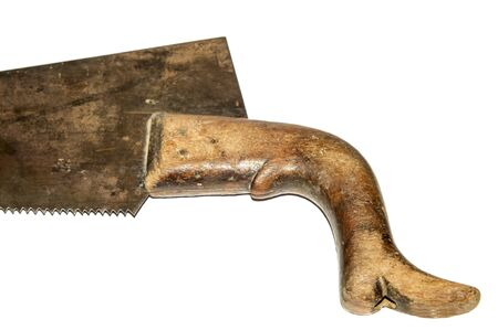 handsaw: Handsaw with wood handle isolated on white.