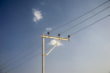 electricity supply: Electricity supply network with pole and wires