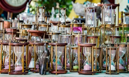 hour glass figure: Various hourglasses displayed at a retail store