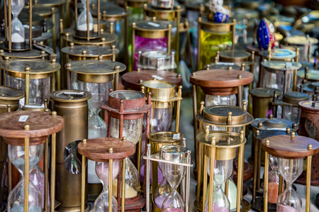 hour glass figure: Different variety of hourglasses on a retail store