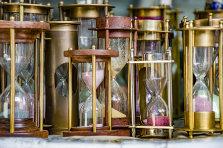 hour glass figure: Hourglasses kept for display and for sale Stock Photo