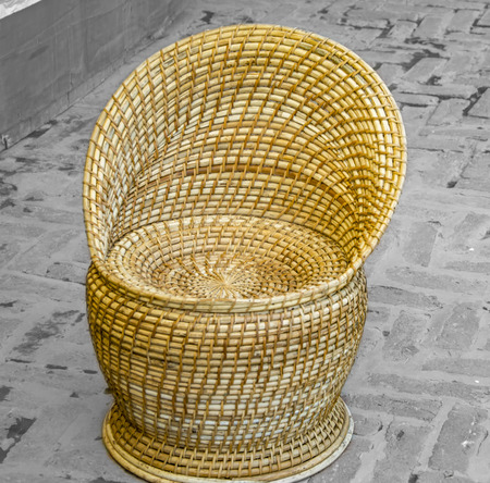 hand woven: Hand woven bamboo chair Stock Photo