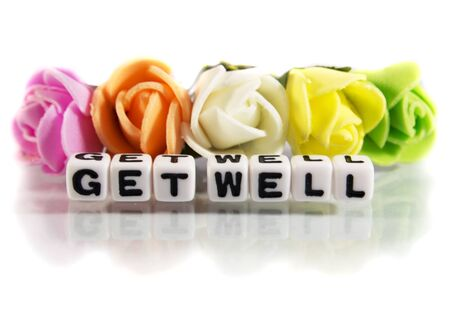get well: Get well soon message with flowers and letters