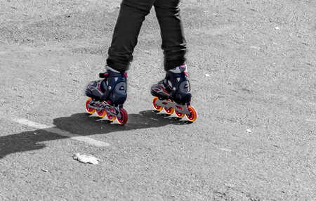 rollerblade: Skating with new wheels which are working.