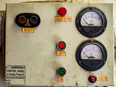 off button: Old electric control panel with text labels. Stock Photo