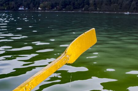 oar: Yellow oar of boat in lake with water and reflection