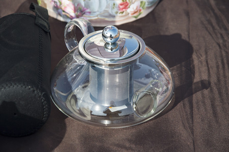 electric tea kettle: Electric tea maker kettle with option for tea leaves.