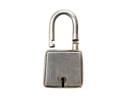 unlocked: Unlocked metal lock on white background. Stock Photo