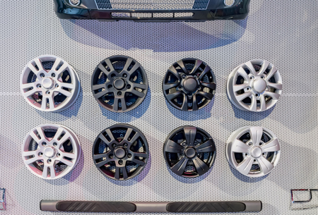 alloy: Different alloy wheels on sale and display