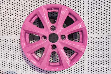 alloy: Pink alloy wheel on sale and display