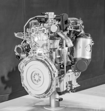 shiny car: Car engine on display with shiny parts. Stock Photo