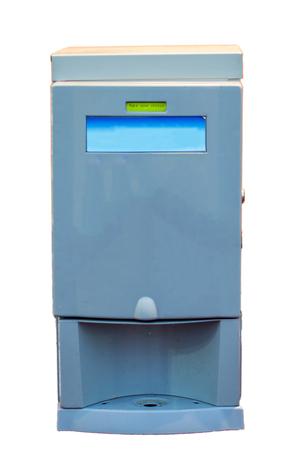 beverage display: Water and coffee dispenser machine on display. Stock Photo