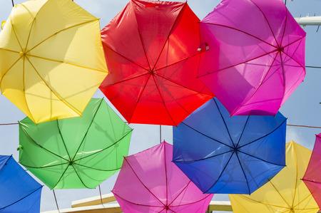 upturned: Few upturned umbrellas on display