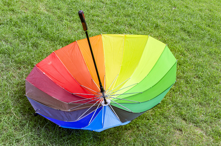 reversed: Reversed and inverted umbrella in grass of park field. Stock Photo