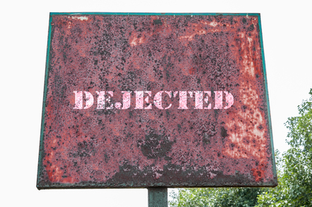 dejected: Dejected text message on display board.