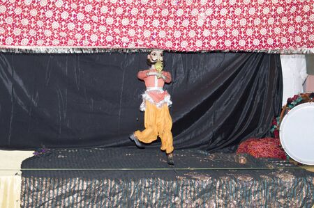 Puppet show with dance and music with threads and controlled Stock Photo