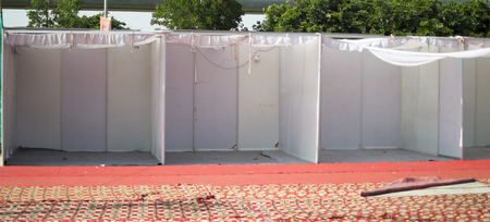 Empty booths at an exhibition and event at local grounds