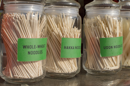 Noodles of three types in jars