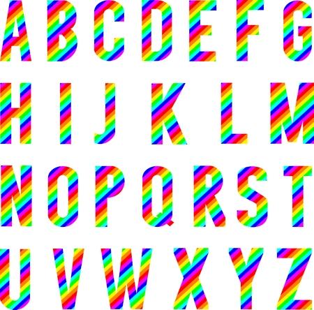 Graphic vector alphabet rainbow style.