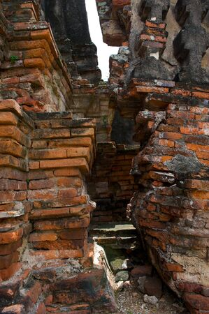 The broken wall, Wat Chai Wattanaram, The world heritage of Thailand photo