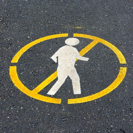 go sign: dont walk sign on the road Stock Photo