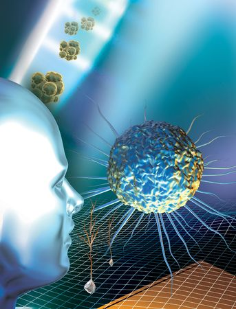 3d rendered depiction of Stem Cells and a human figure against a blue background