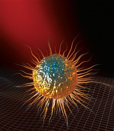 3D rendered conceptualization of bone marrow stem cell (gold)