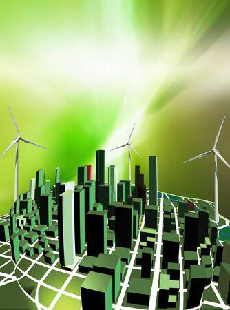 녹색 도시 --- 녹색 건물의 개념화는 환경 효율성에 중점을 둡니다.
