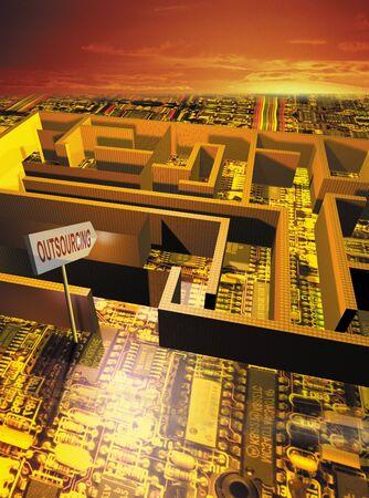 Outsourcing maze  Stock fotó
