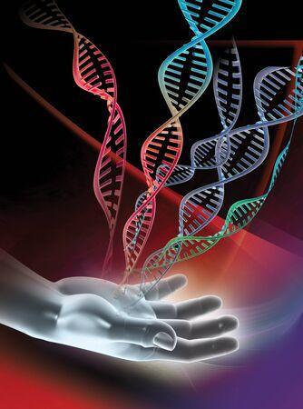 컴퓨터 손을 보여주는 삽화와 이중 가닥 DNA (디옥시리보 핵산) 분자. DNA는 이중 나선으로 꼬인 두 가닥으로 구성되어 있습니다. DNA는 인체의 유전 정보