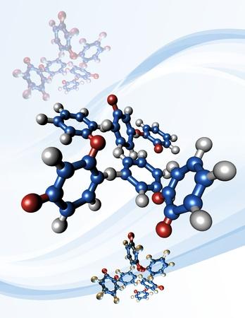탁솔 화학 요법 약물. 항암제 탁솔의 분자 모델 (일반 명 파클리탁셀). 스톡 콘텐츠