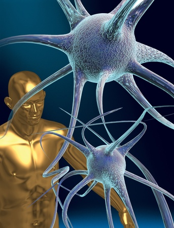 3D rendered conceptualization of a nerve cell or neuron