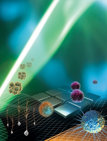 3D prestados conceptualización de la investigación con células madre Foto de archivo