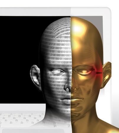 사이버 개념의 3D 렌더링 개념화 스톡 콘텐츠