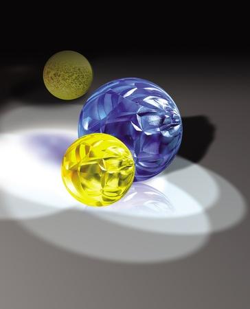 3D 렌더링 된 다채로운 유리 공 그림자