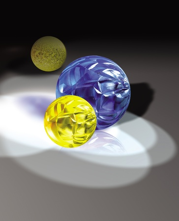 3D rendered colorful glass balls with a shadow  Stockfoto
