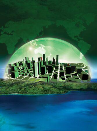 녹색 도시의 3D 렌더링 개념화 스톡 콘텐츠