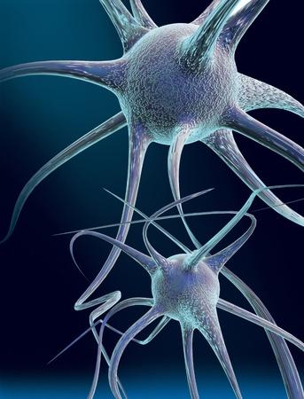 3D gesmolten conceptualisering van een zenuwcel of neuron Stockfoto
