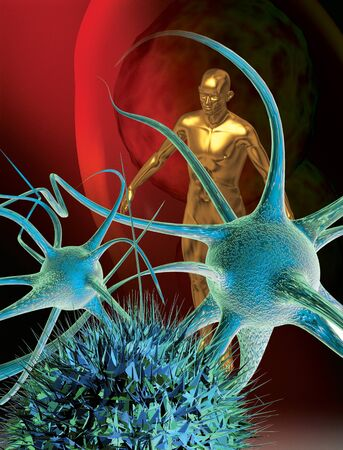 synapse: 3D rendered conceptualization of a nerve cell or neuron and a human figure