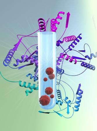 タンパク質分子と血液細胞 写真素材