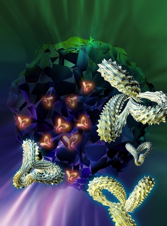 Computer artwork of antibodies  Y-shaped  and cancer cells