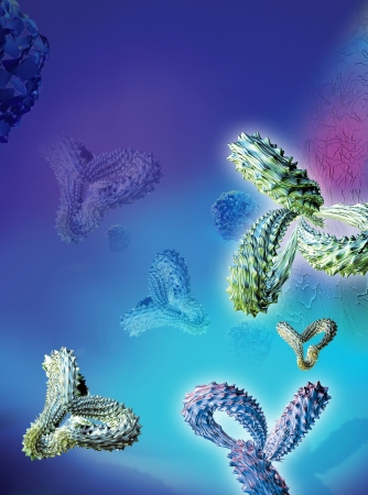 Computer artwork of antibodies  Y-shaped  on blue background photo