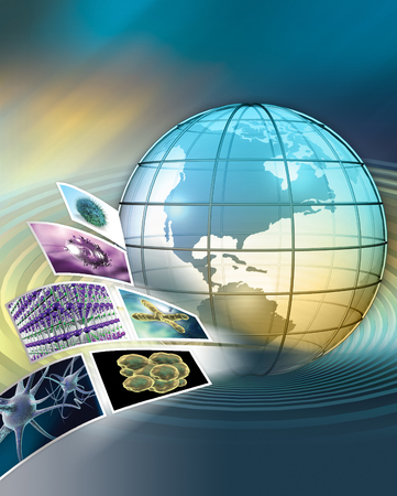 3D rendered global scientific research concept