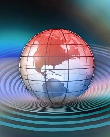 지구의 3D 렌더링 된 개념화
