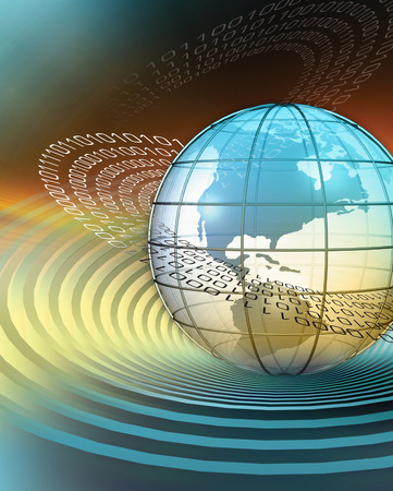 3D rendered conceptualization of earth with binary code