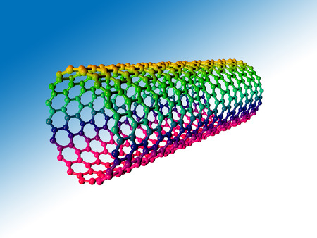 Computer artwork showing the hexagonal carbon structure of a nanotube photo