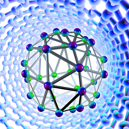 Buckyball molecule surrounded by a carbon nanotube, computer artwork photo