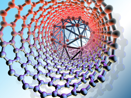 Buckyball and nanotube, artwork photo
