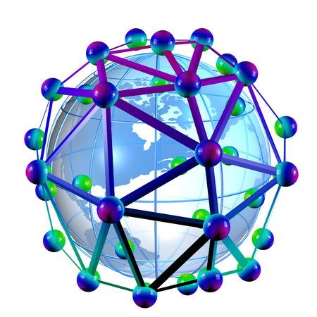 나노 기술에 잠재적으로 글로벌 미래를 나타내는 탄소 nantube 둘러싸인 지구의 그림